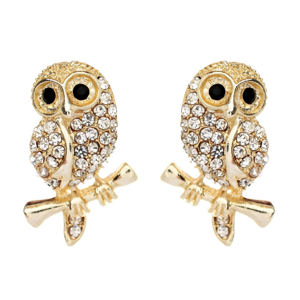 Baby Owl Earrings Gold Clear Animal Kingdom Amrita New