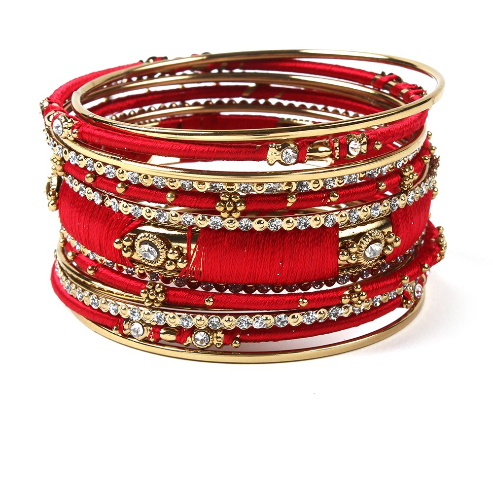 Ankara Bangle Set Red Double Tap To Zoom