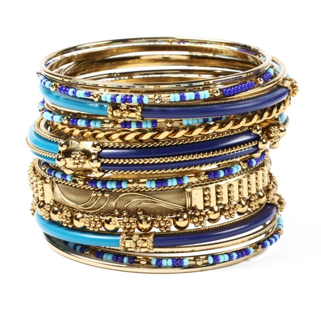 Monaco Bangle Set Blue/Turquoise