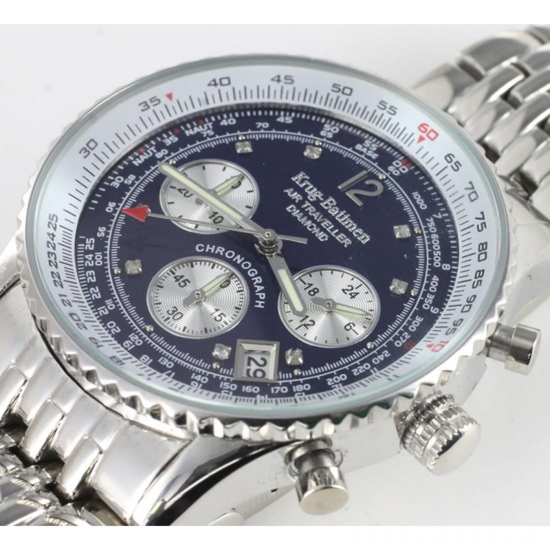 Men's Air Traveller Navy Blue Diamond Chronograph Watch