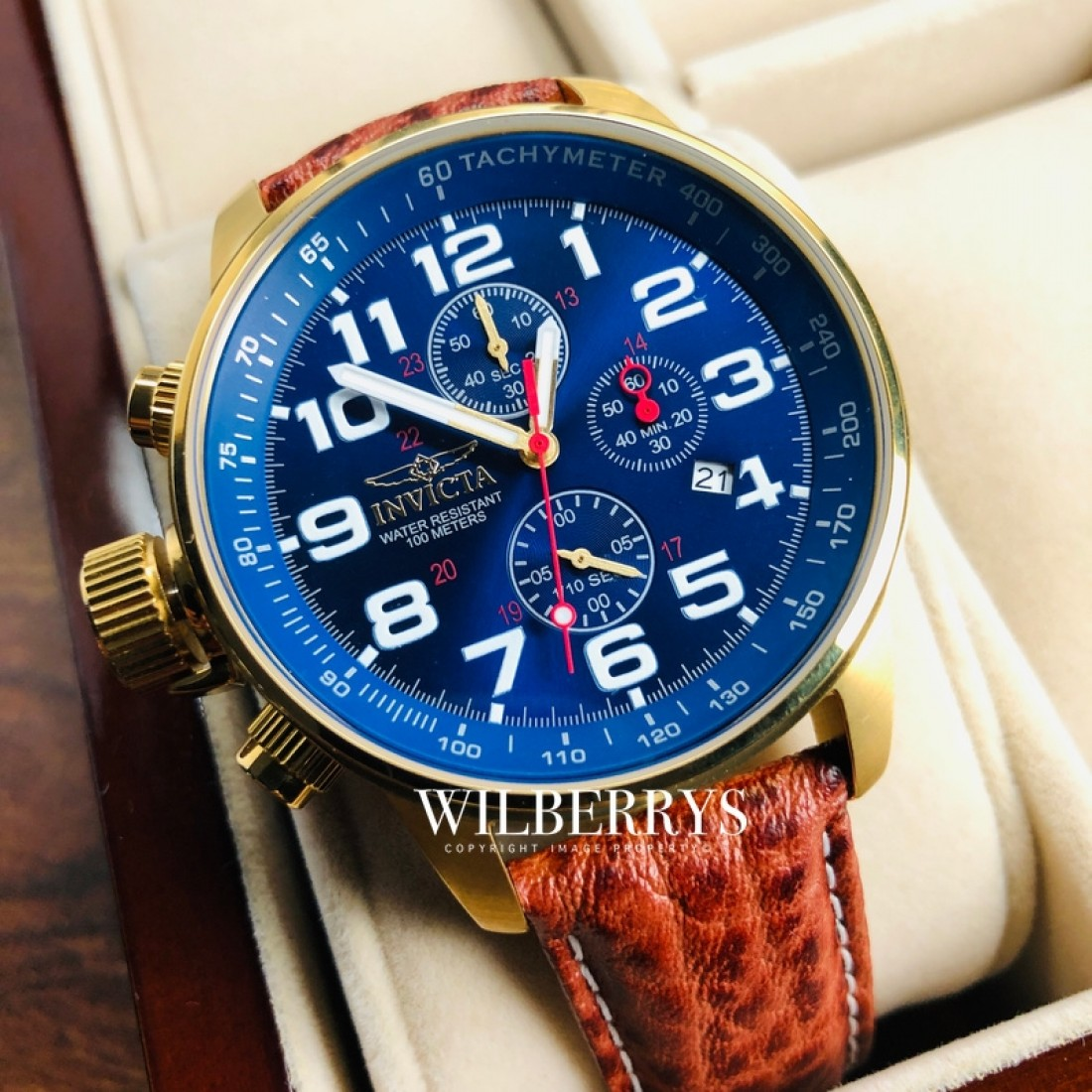 Men's Russian Aviator Leather Gold/Blue Chronograph Watch