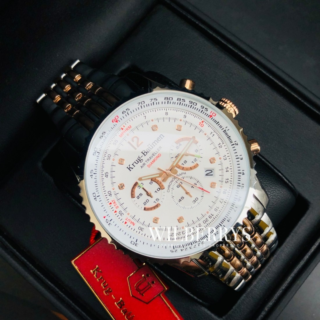 Air Traveller 46mm Two Tone Rose Gold Chronograph Watch