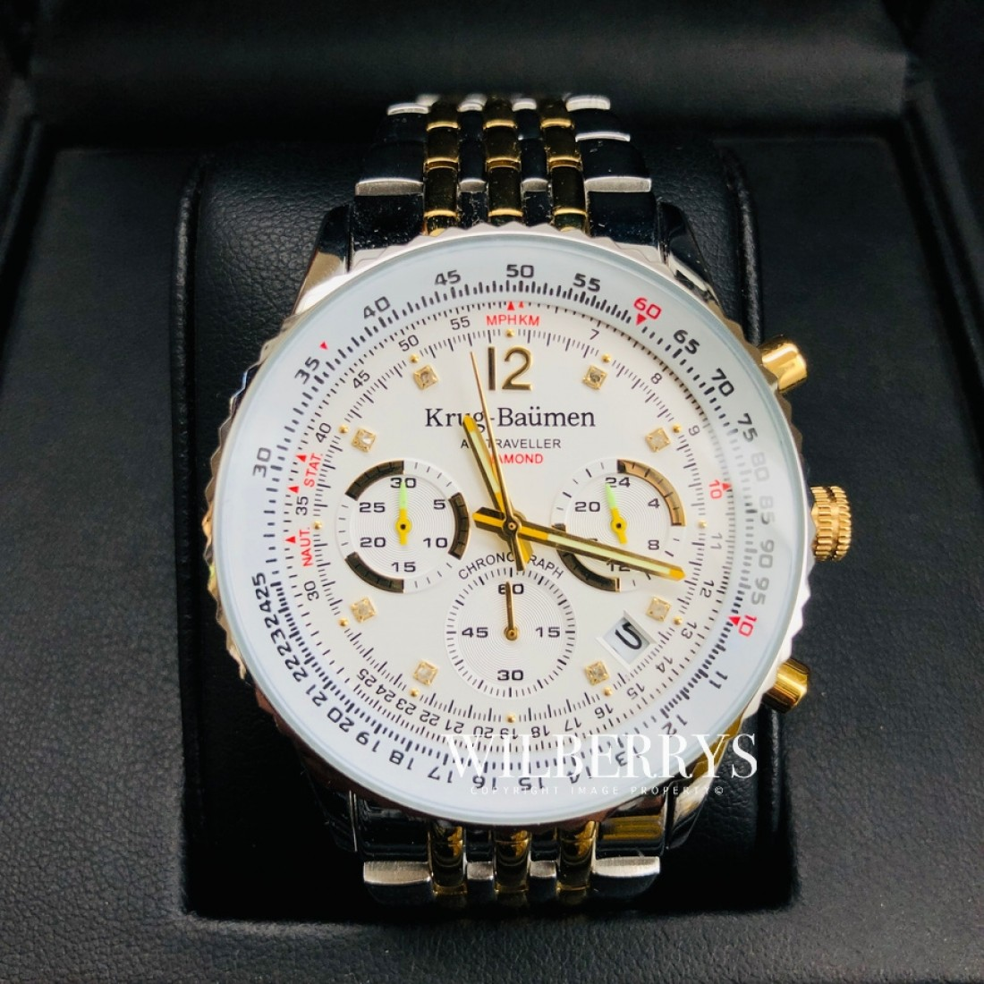Men's Air Traveller Diamond Watch Two Tone Steel Watch