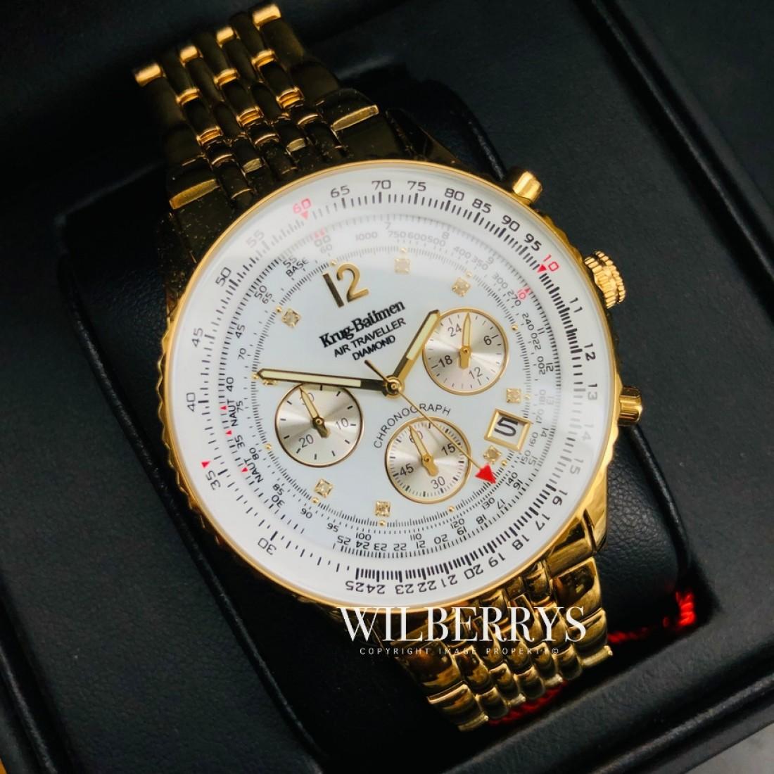 Men's Air Traveller Diamond White Full Gold Plated Chronograph Watch