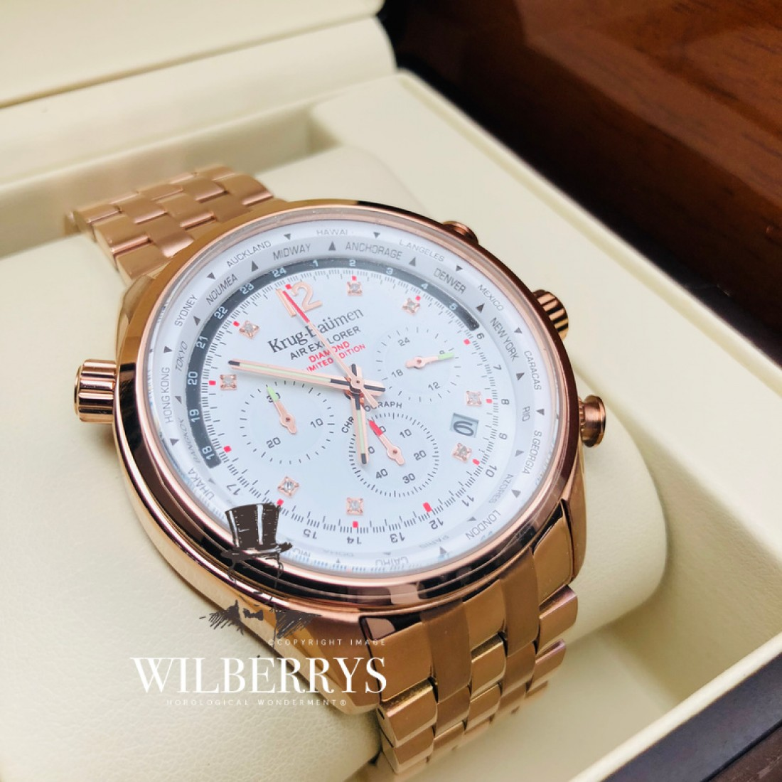 Men's Air Explorer Diamond Limited Edition 500 Chronograph Rose Gold Steel Watch