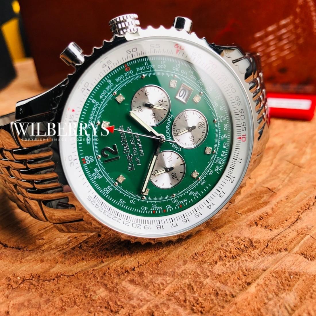 Air Traveller 46mm Emerald Green Steel Chronograph Watch