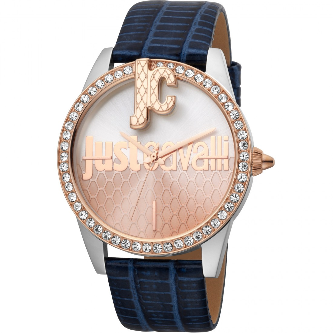 Bold JC 40mm Leather Rose Gold/Navy Zirconia