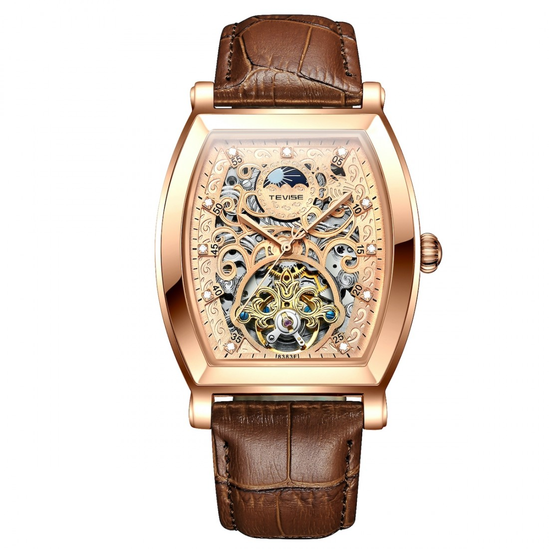 Tonneux Wheel Moonphase Automatic Rose Gold/Brown