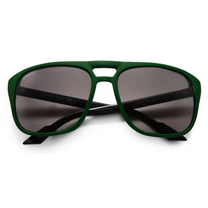 c6a85eaf2d5 Double tap to zoom · Unisex GG1018 S Keyhole Aviator Green Sunglasses ...