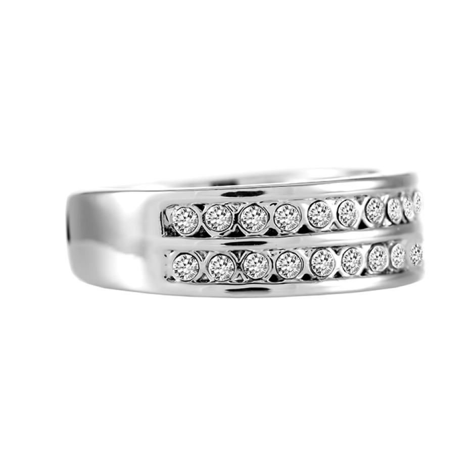 Double Pavé Ring (Large), Embellished with Crystals from
