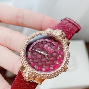 Women's Weave Rose Gold Burgandy Watch