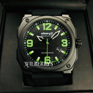 Men's Revolution Auto-Pilot Watch Black/Green Trim Luminous