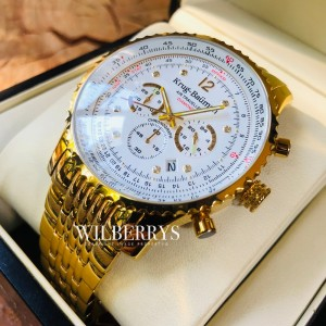 Men's Air Traveller 46mm Chronograph Watch Full Gold Plated White Dial