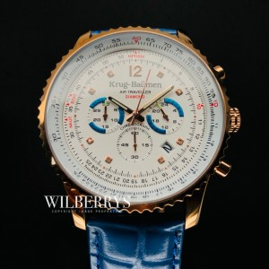 Men's Air Traveller 46mm Chronograph Watch Electric Blue Leather