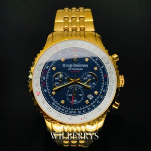 Men's Air Traveller 46mm Chronograph Watch Full Gold Plated Blue Dial
