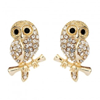 Baby Owl Earrings Gold/Clear