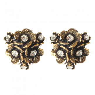 Eliza Floral Earrings Antique Gold