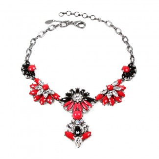 Carrie Necklace Black/Ruby