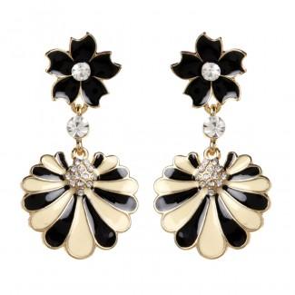 Enamel Fan Earring Black/Ivory