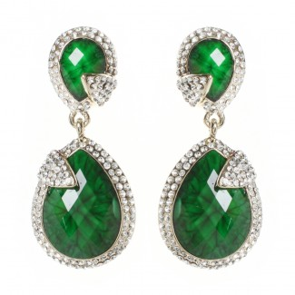 Pave Riverside Earring Evergreen