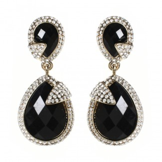 Pave Riverside Earring Jet Black