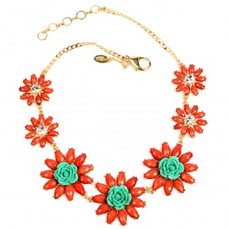 Amrita Rosemary Necklace Coral/Turquoise