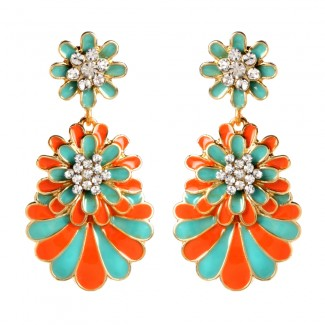 Enamel Dream Island Drops Turquoise/Coral