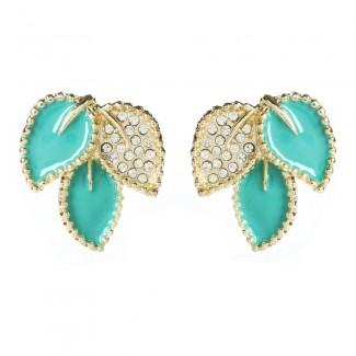 Crystal Enamel Leaf Studs Turquoise