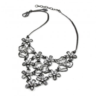 Emily Floral Necklace Gunmetal/Clear
