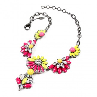 Carrie Necklace Fuschia/Yellow