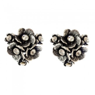 Eliza Floral Earrings Antique Silver
