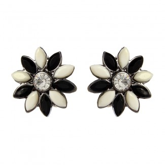 Holi Floral Studs Black/Ivory