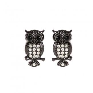 Amrita Owl Studs Gunmetal/Silver