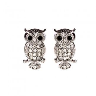 Amrita Owl Studs Silver/Clear