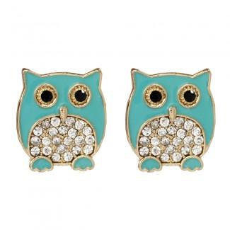 Chubby Owl Stud Turquoise