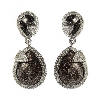 Pave Riverside Two-Tone Earring Gunmetal/Silver