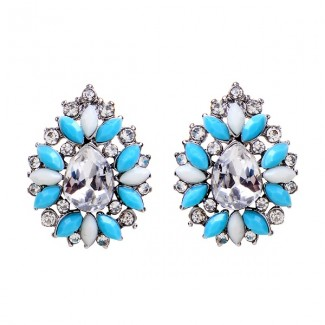 Edna Studs Turquoise/Ivory