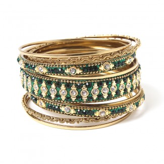 Keya Bangle Set Emerald