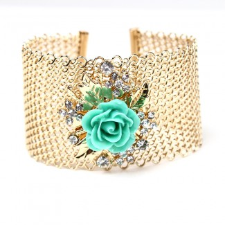 Lyon Floral Mesh Cuff Turquoise