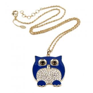 Chubby Owl Pendant Blue