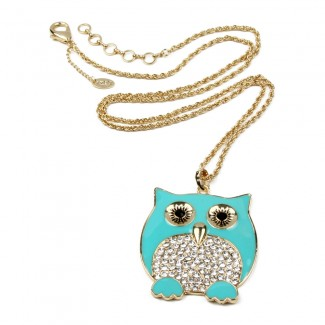 Chubby Owl Pendant Turquoise