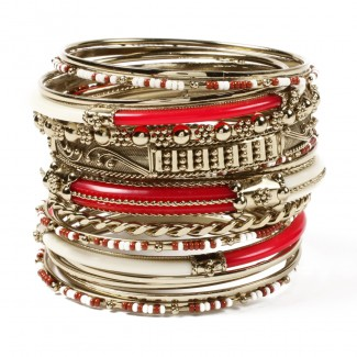 Monaco Bangle Set Ruby/Ivory
