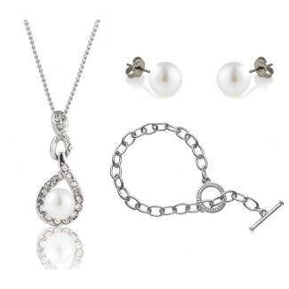 Freshwater Pearl Adaliz Set with Tiffany-Style Bracelet