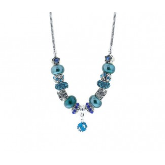 Charm Necklace in Dark Blue Embellished with Crystals from Swarovski®