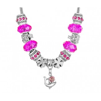 Charm Necklace Fuchsia Pink Embellished with Crystals from Swarovski®
