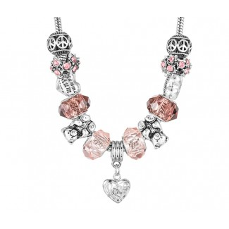 Charm Necklace Teddy Embellished with Crystals from Swarovski®