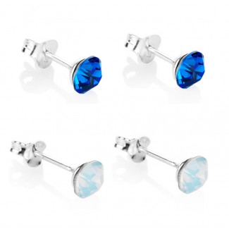 Sapphire and Opal Stud Earrings Set, Embellished with Crystals from Swarovski®