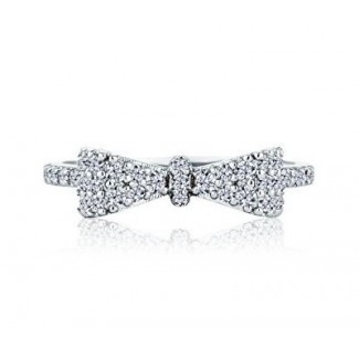 Bow Ring in White Gold, Embellished with Crystals from Swarovski® (Large)