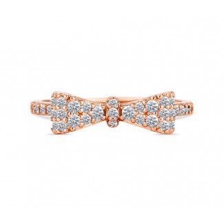 Bow Ring in Rose Gold, Embellished with Crystals from Swarovski® (Large)