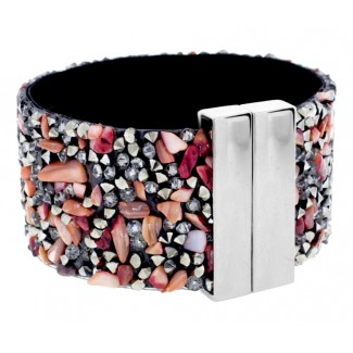 Coral Cuff Bracelet, Embellished with Crystals from Swarovski®